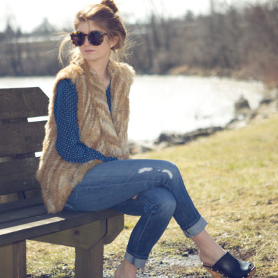 outfit: clogs and fur