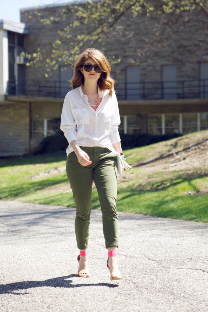 army green pants and hot pink