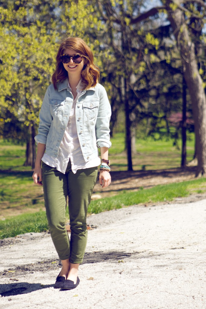 army green pants and jean jacket