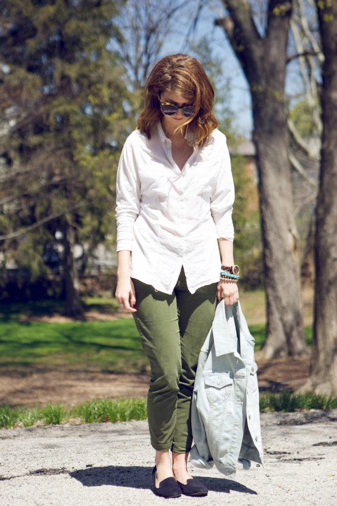 army green pants white top