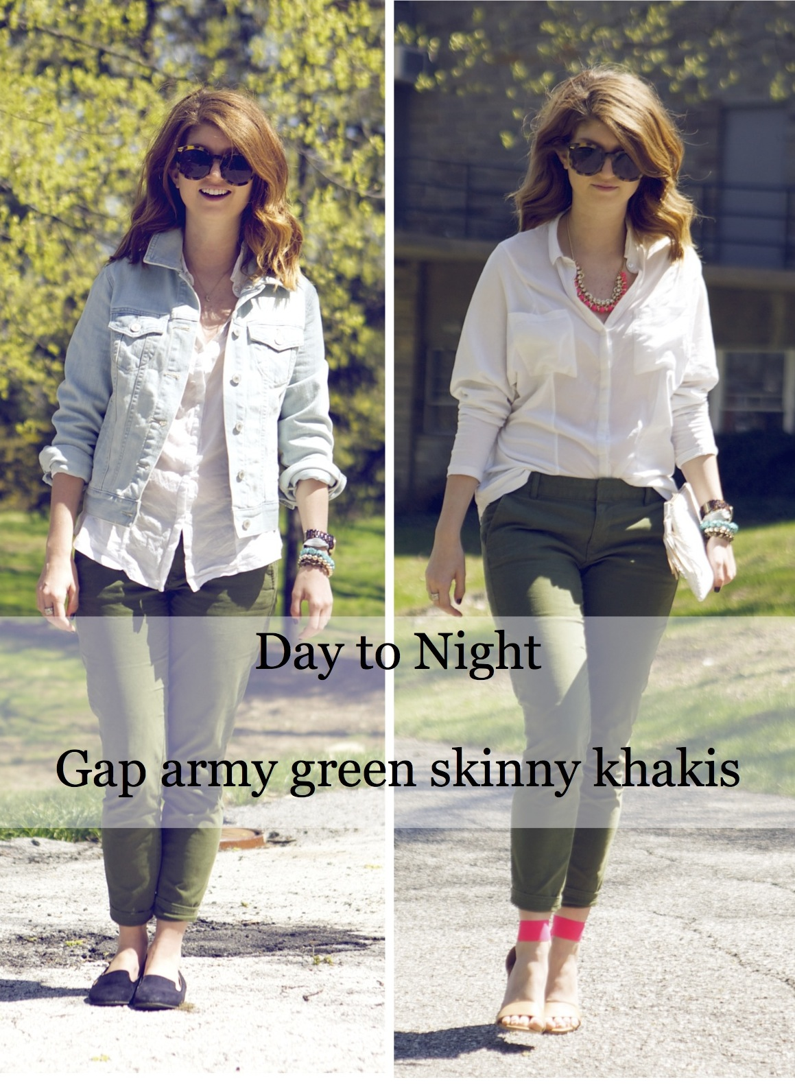 outfit: day to night with army green pants
