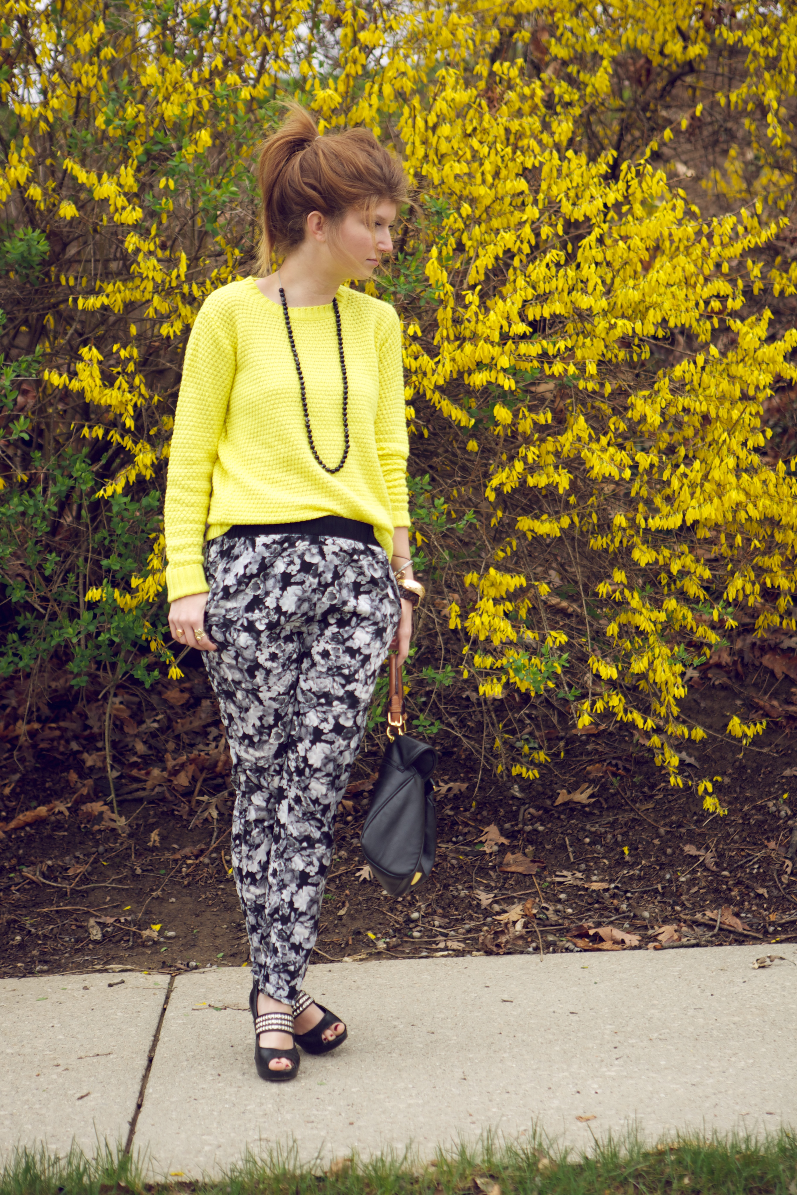 floral pants yellow sweater