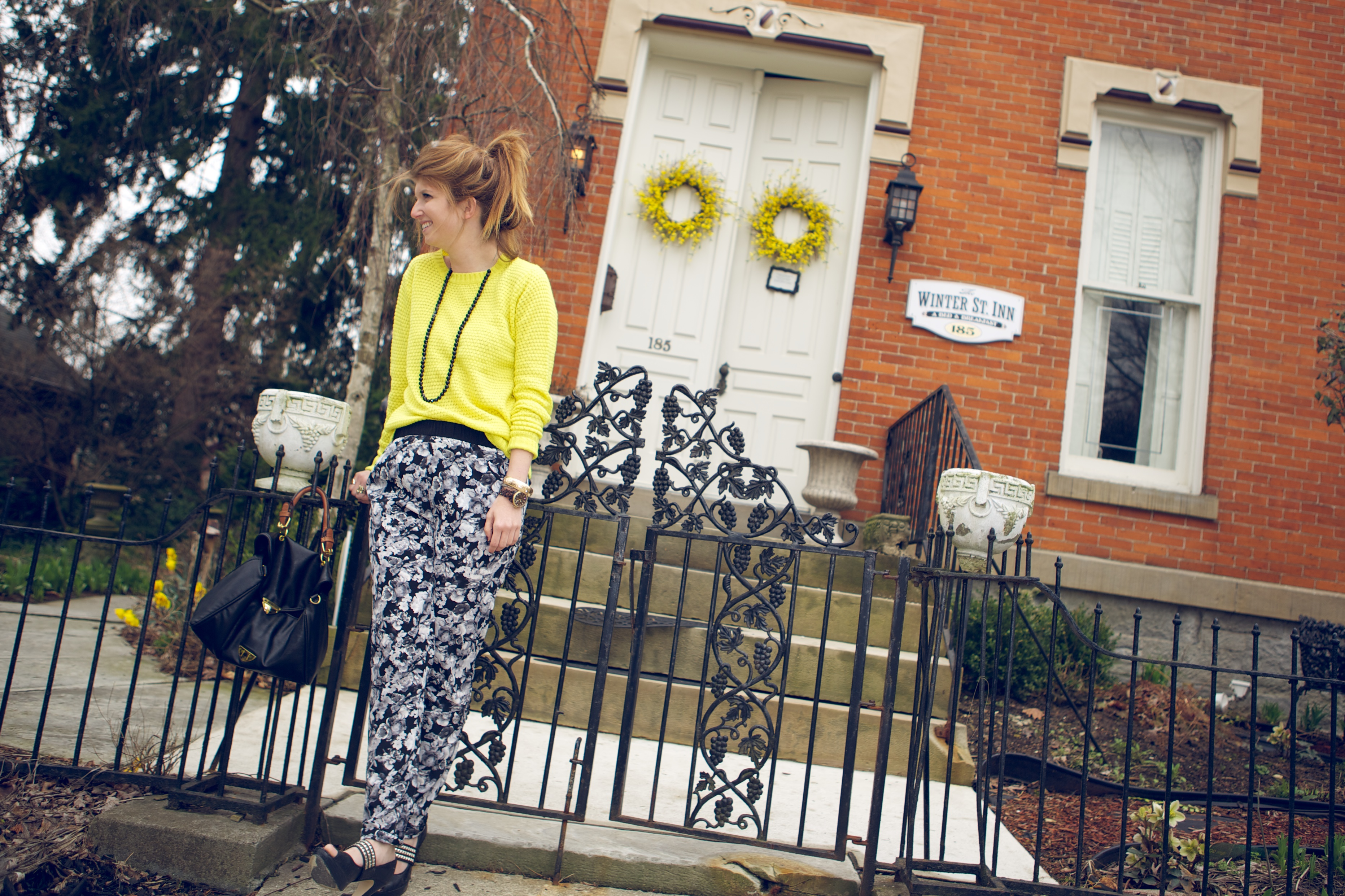 floral pants yellow top