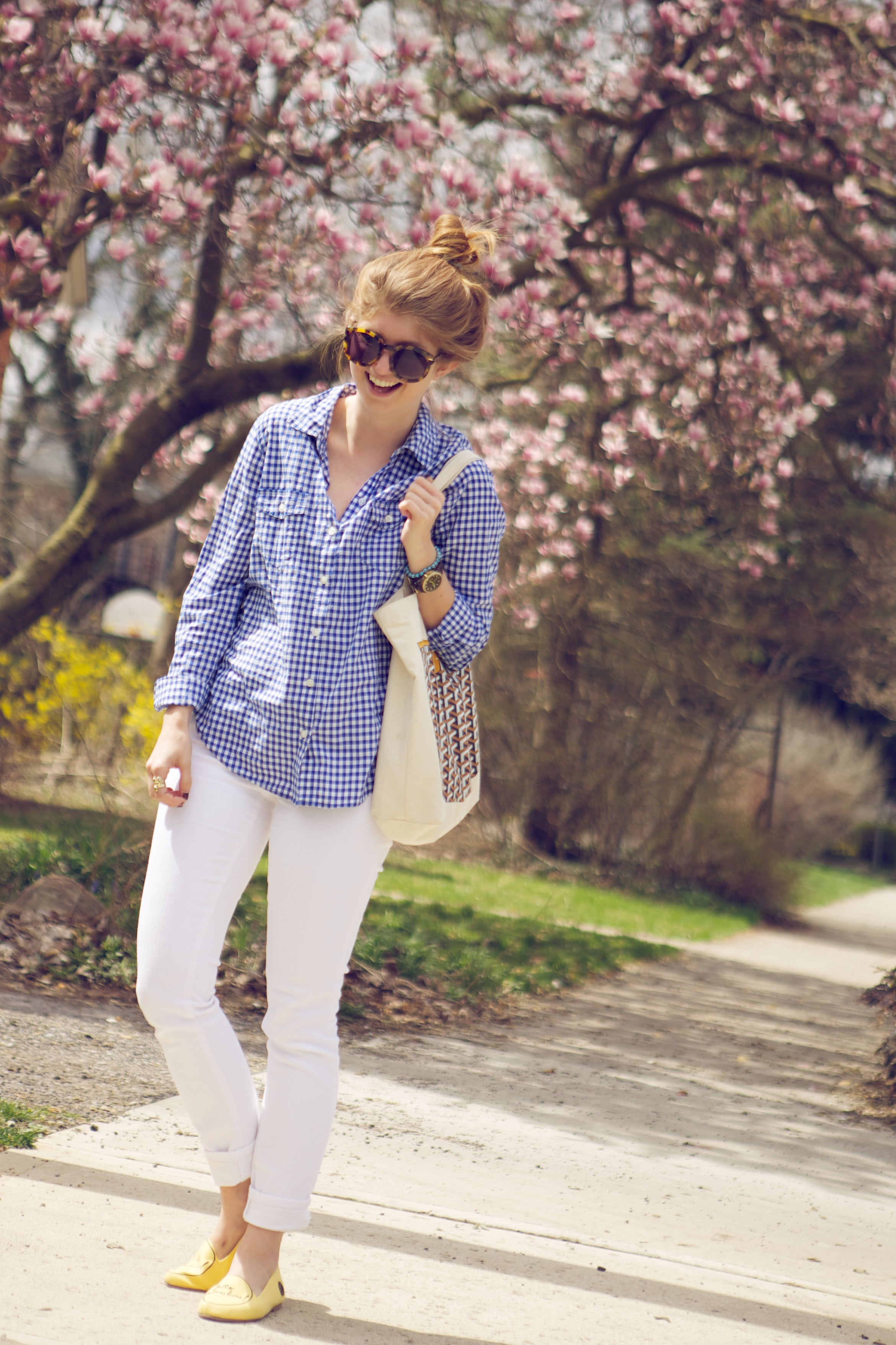 white pants blue and white gingham