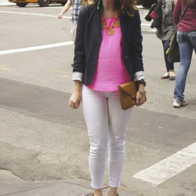 Outfit: pink, navy & white