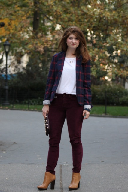 plaid blazer and wine pants