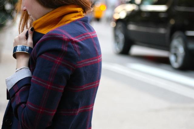 plaid blazer mustard collar
