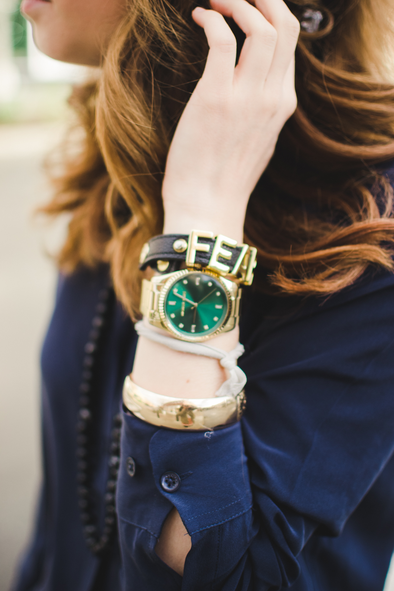 green face MK watch