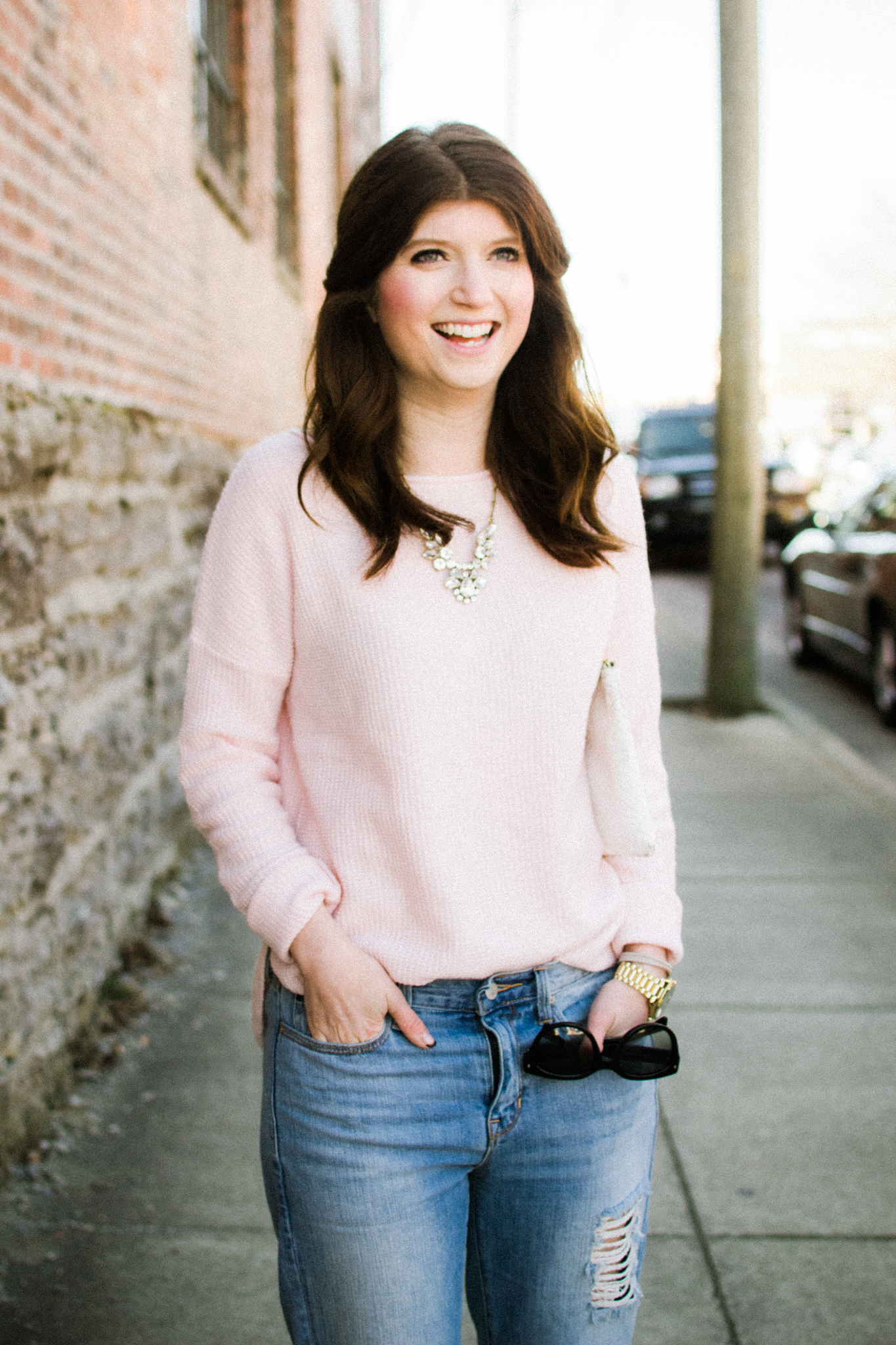 outfit: pale pink
