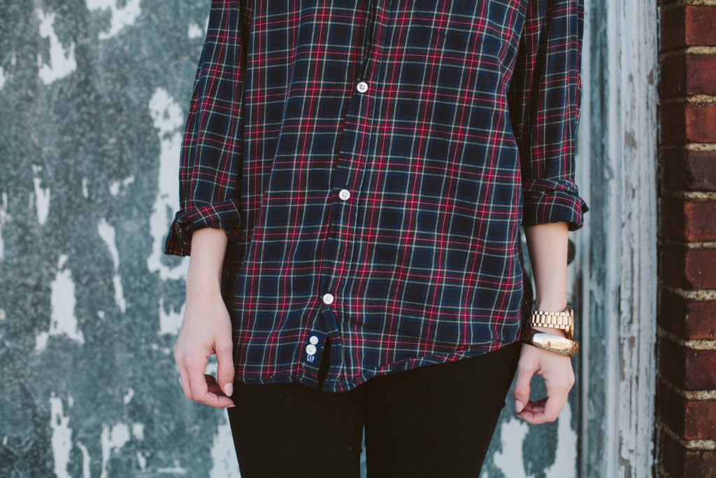 plaid and red lip