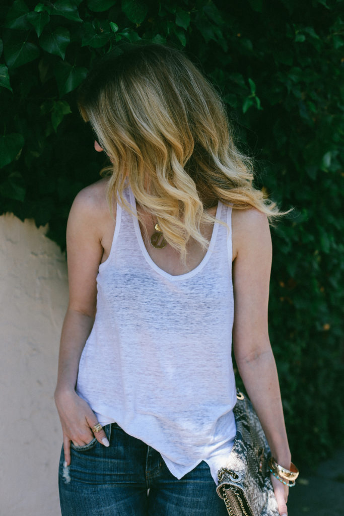 white linen tank and jeans