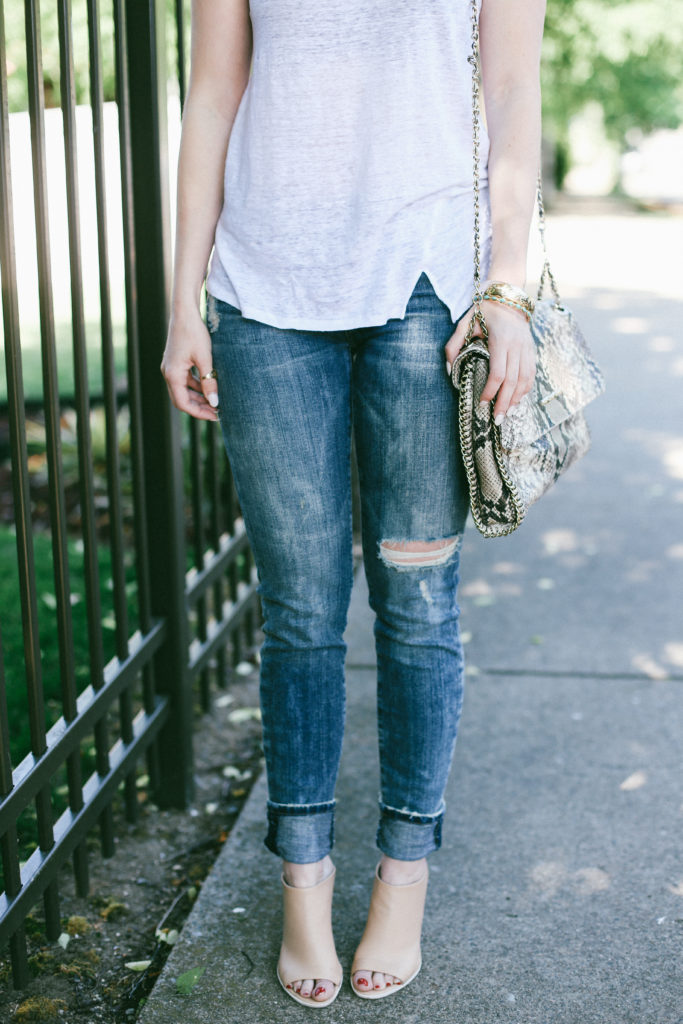 white linen tank and jeans and vine mules