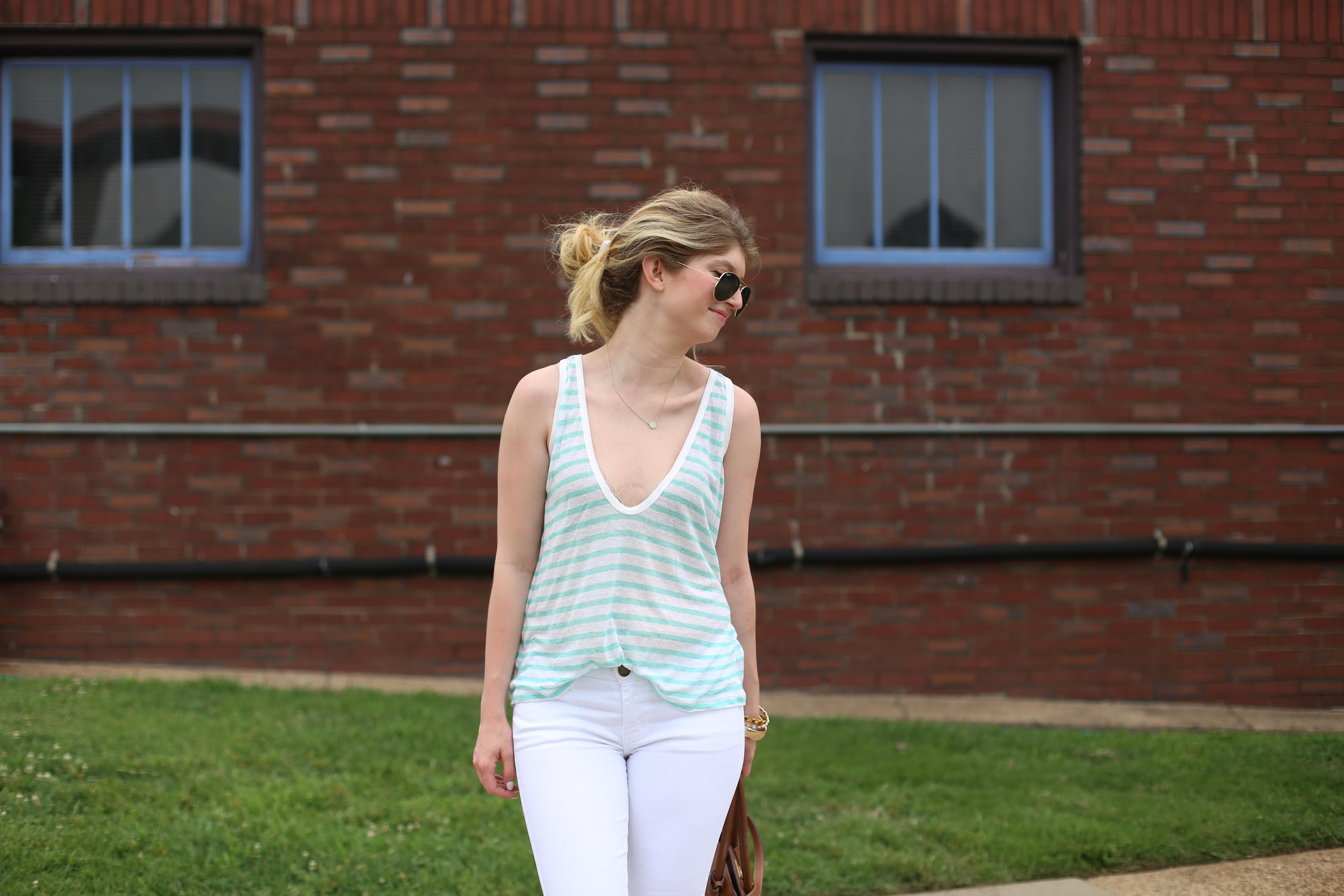 outfit: aqua stripes