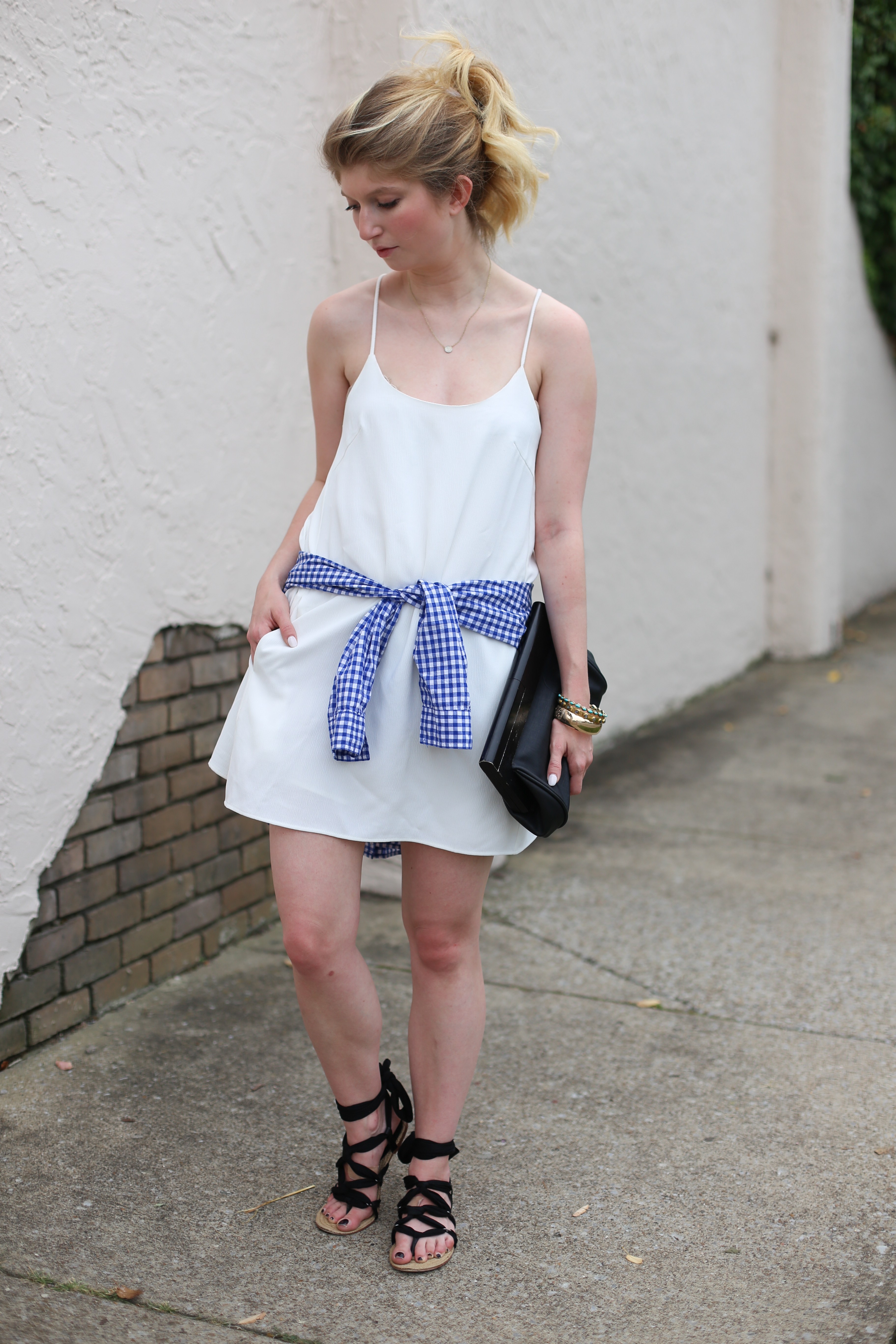 outfit: white gingham