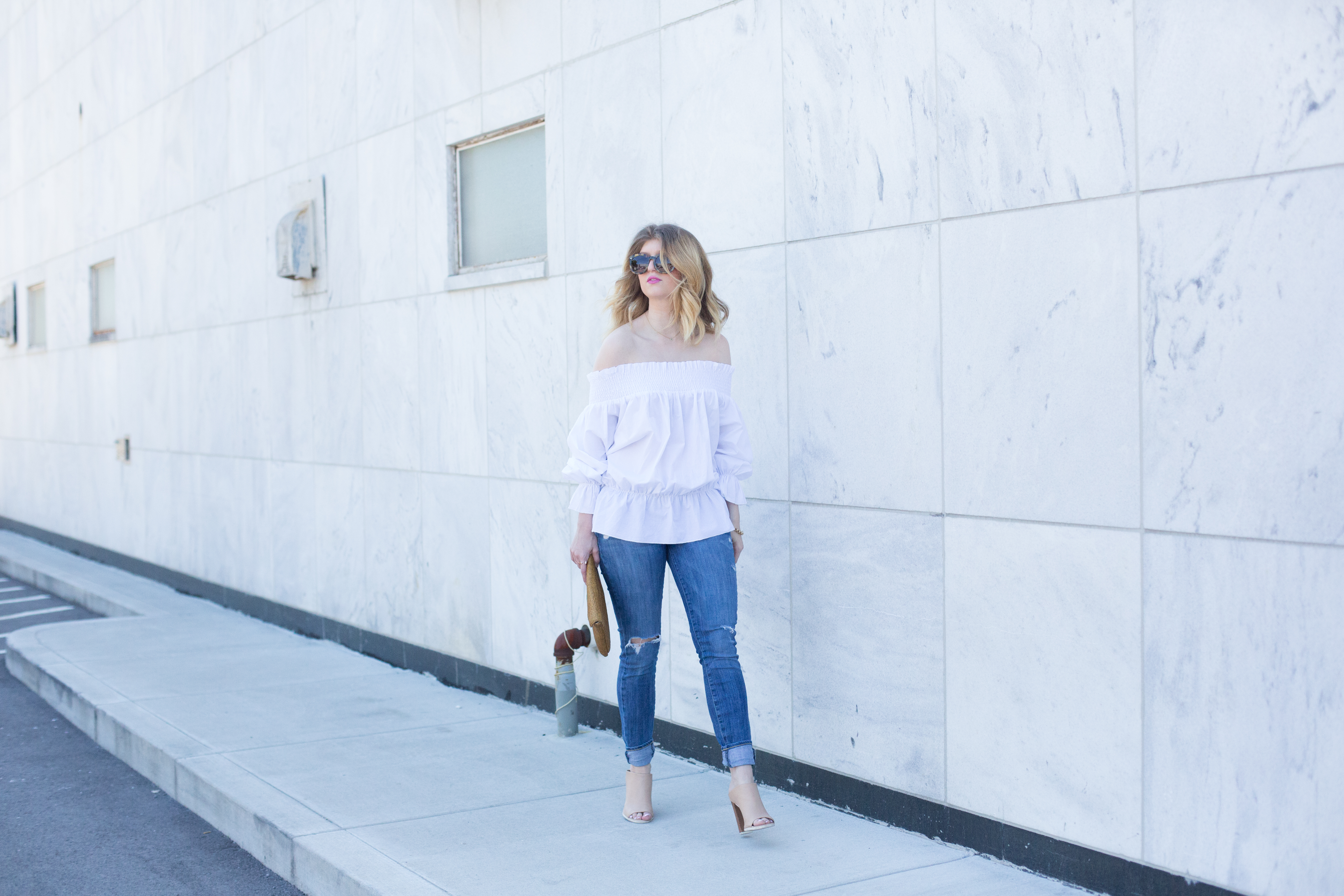 outfit: off the shoulder bow action
