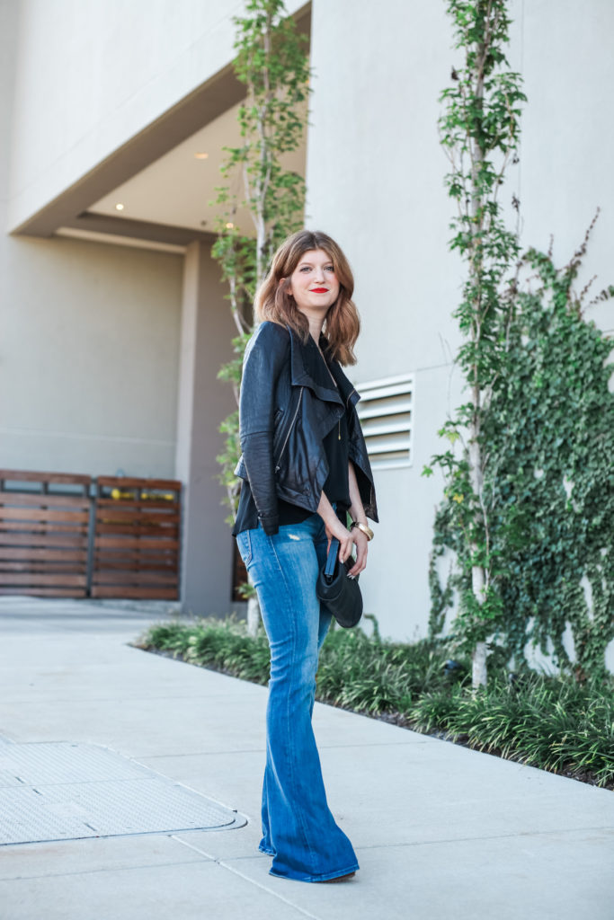 flares and leather jacket
