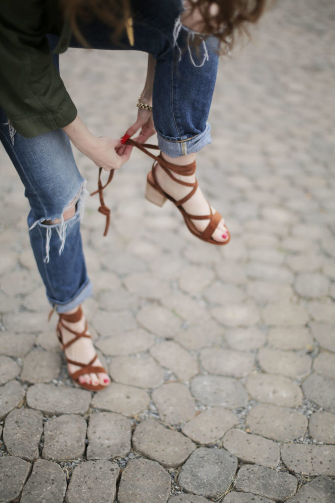 lace up block sandals