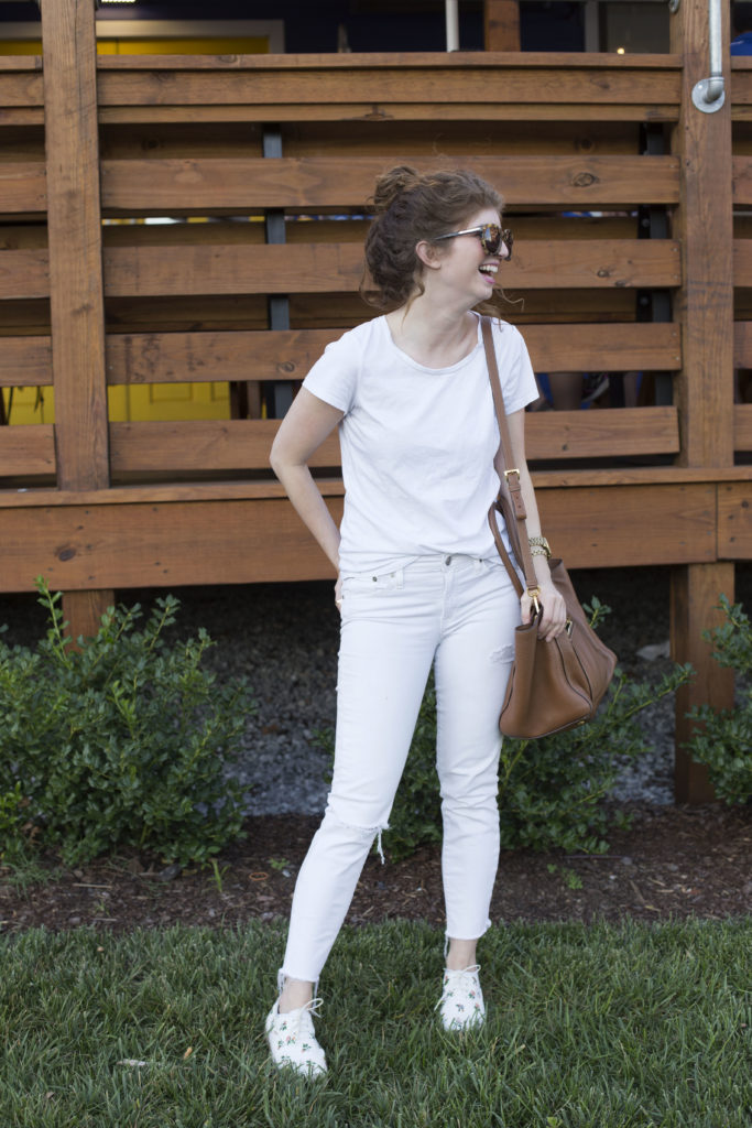 casual all white outfit