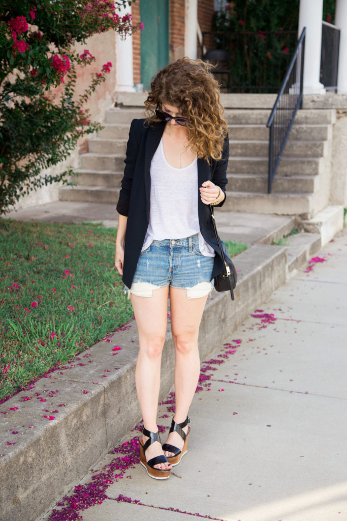 jean shorts and blazer