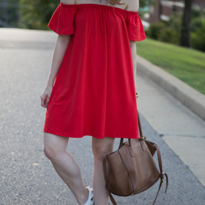 outfit: red off the shoulder dress