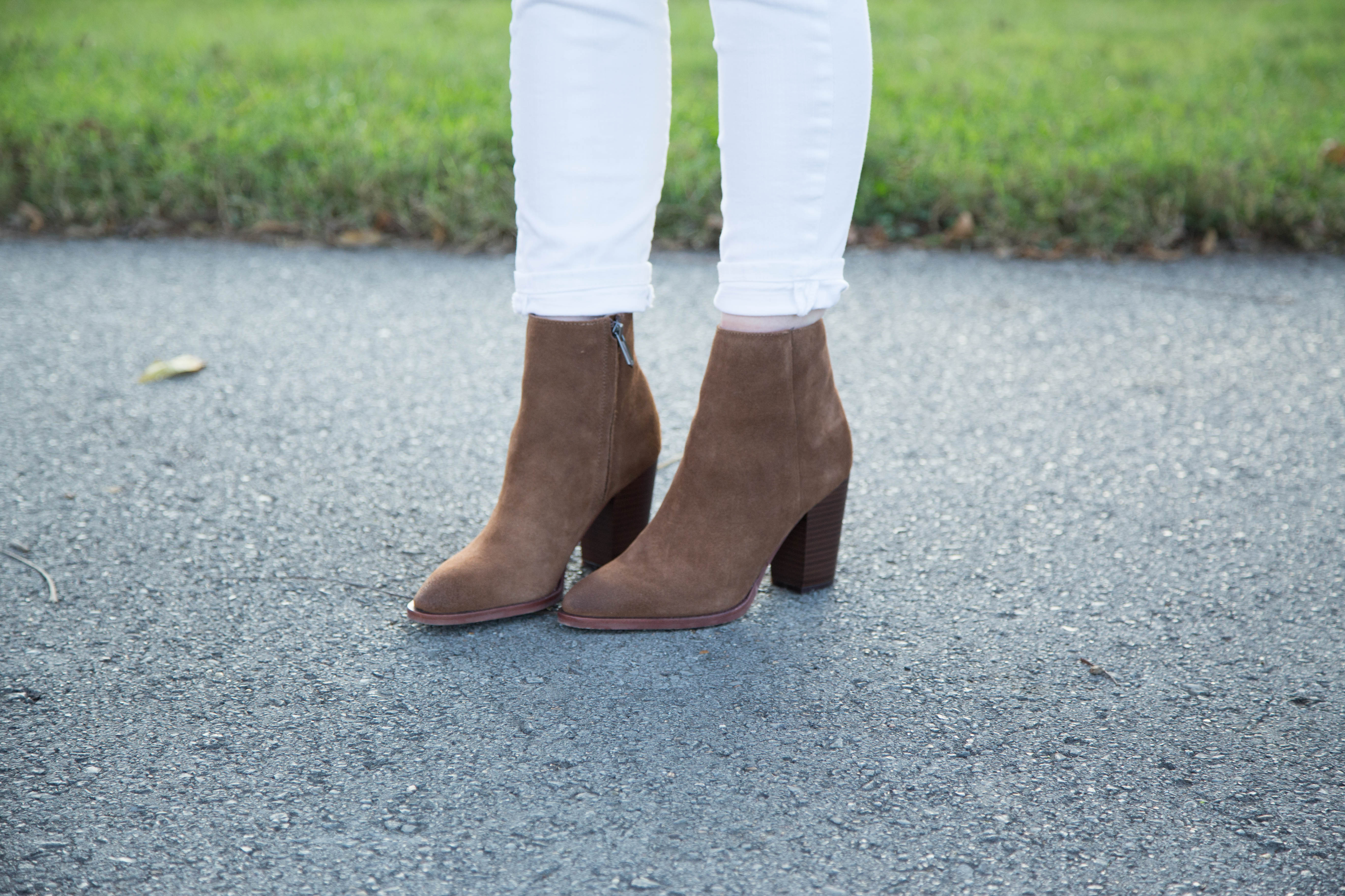 3a7033aa2 All White Outfit for Fall with Brown Sam Edelman Booties