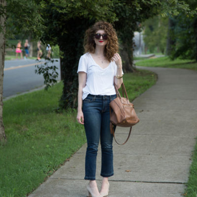 outfit: Marc Fisher block heel