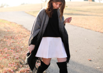 fall outfit - poncho outfit - OTK boots with dress