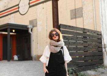 overalls- black overalls - cashmere wrap