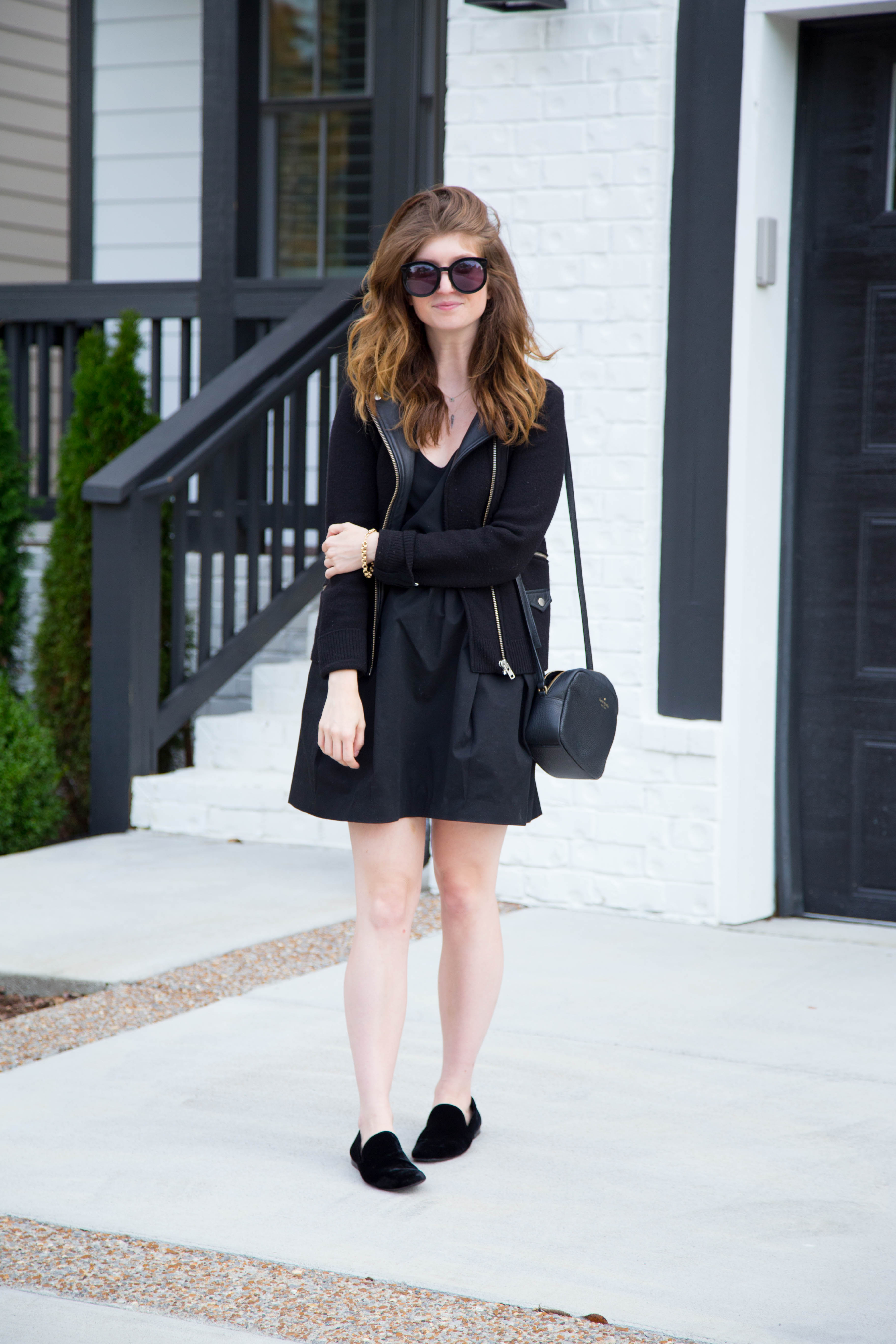 vince loafers - all black outfit - fall outfit - kooples