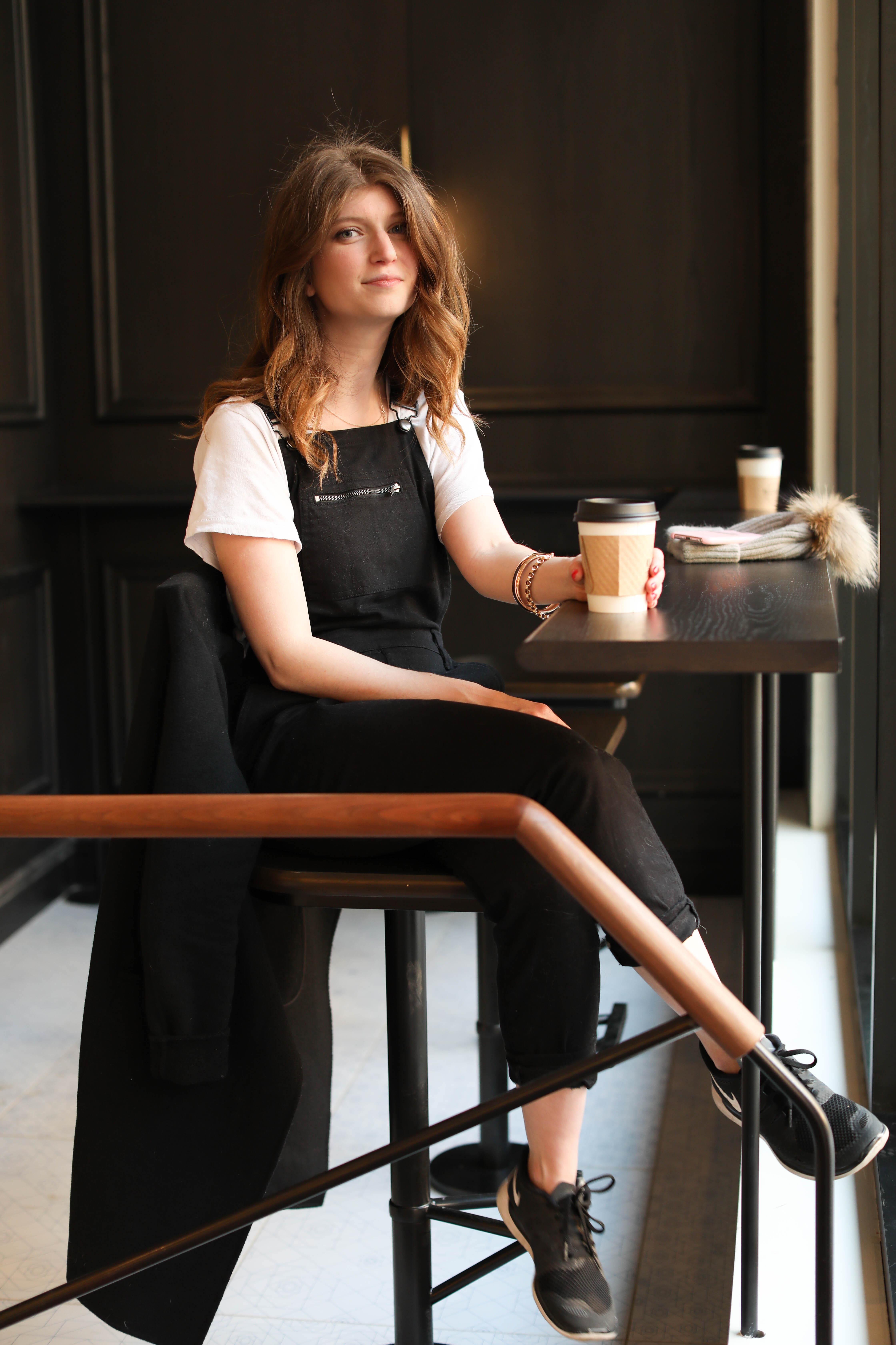 fur beanie - black overalls - thompson hotel nashville