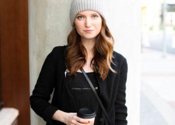 fur beanie - black overalls