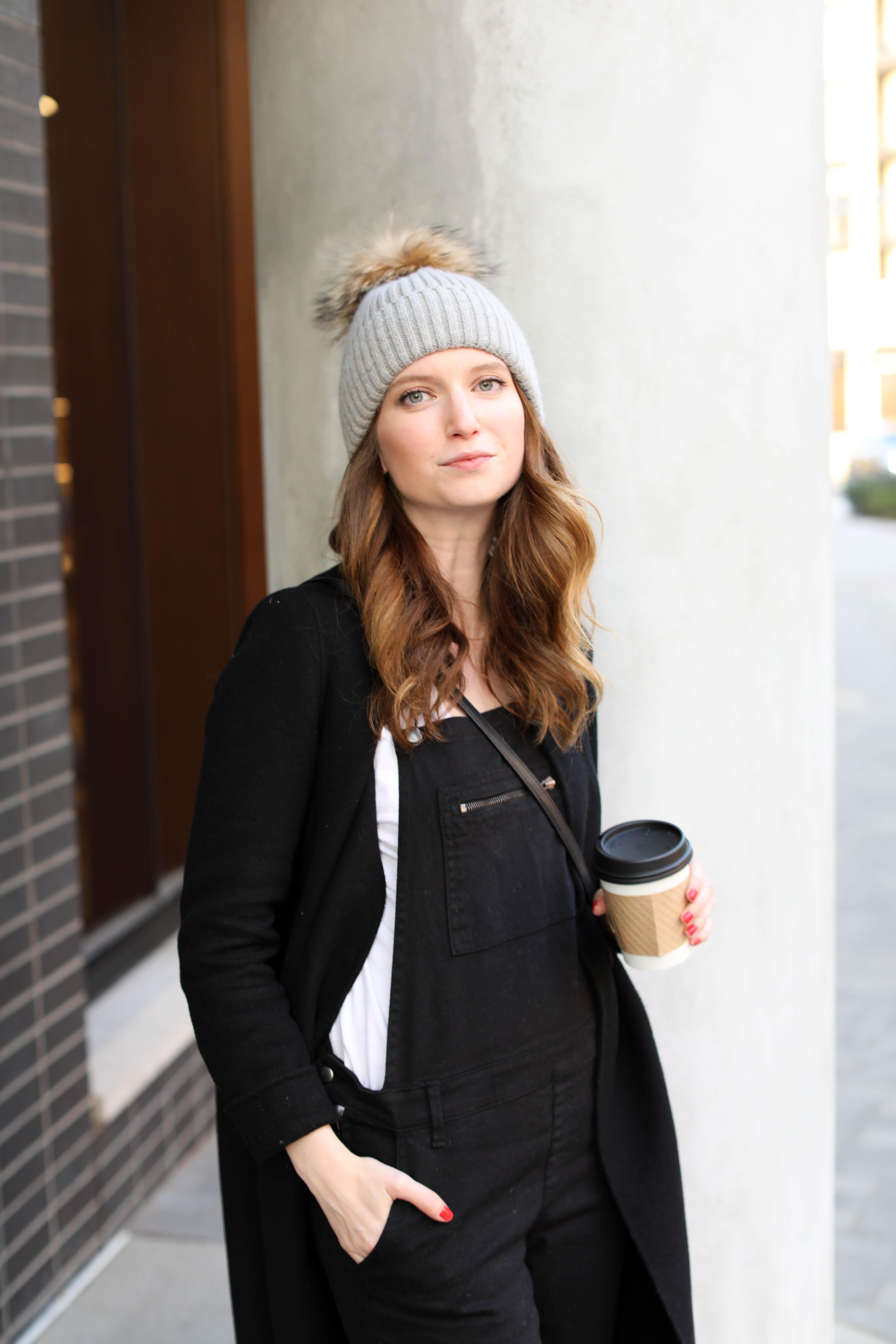 fur beanie - black overalls - zara coat