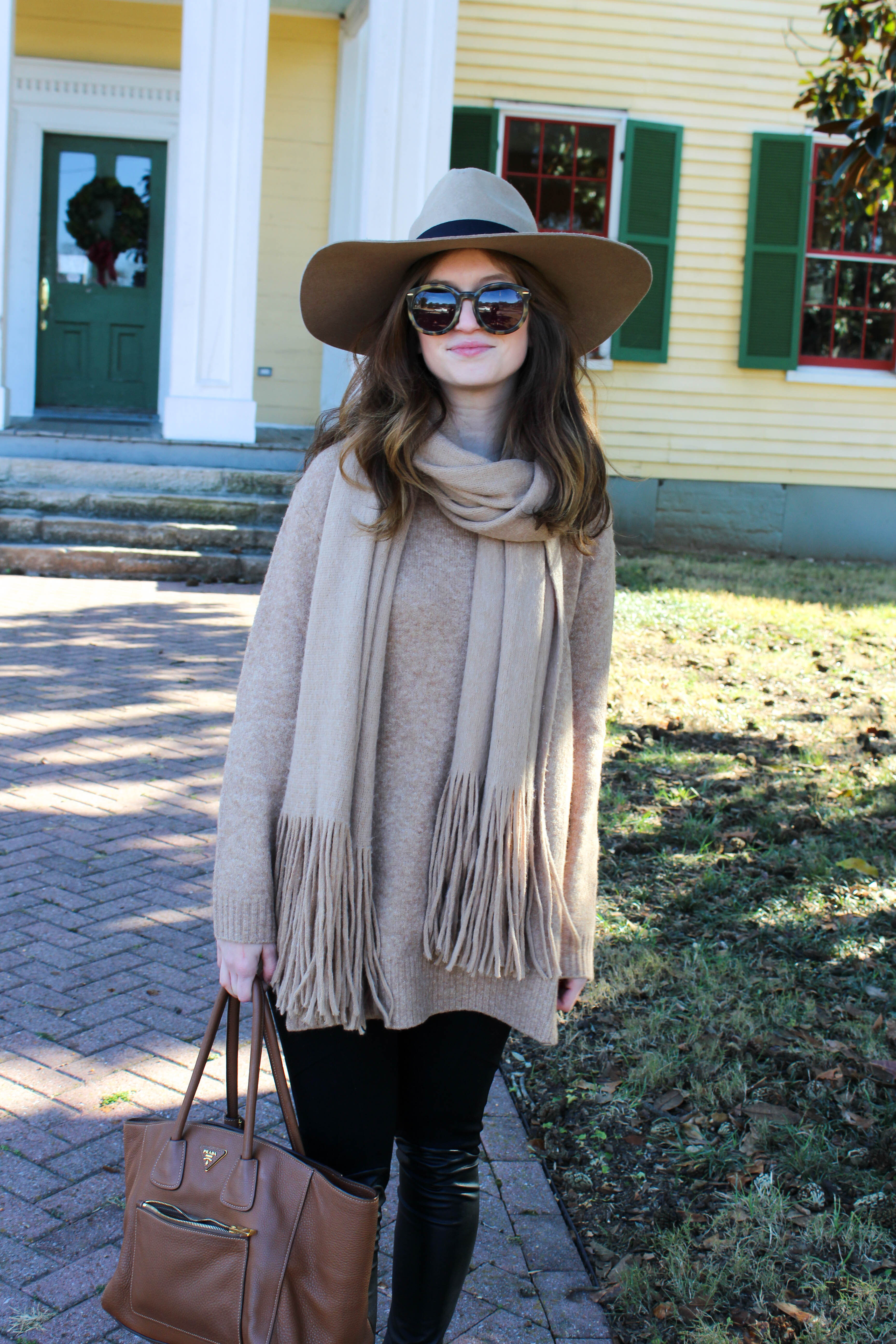 camel outfit- wide brim hat - free people scarf