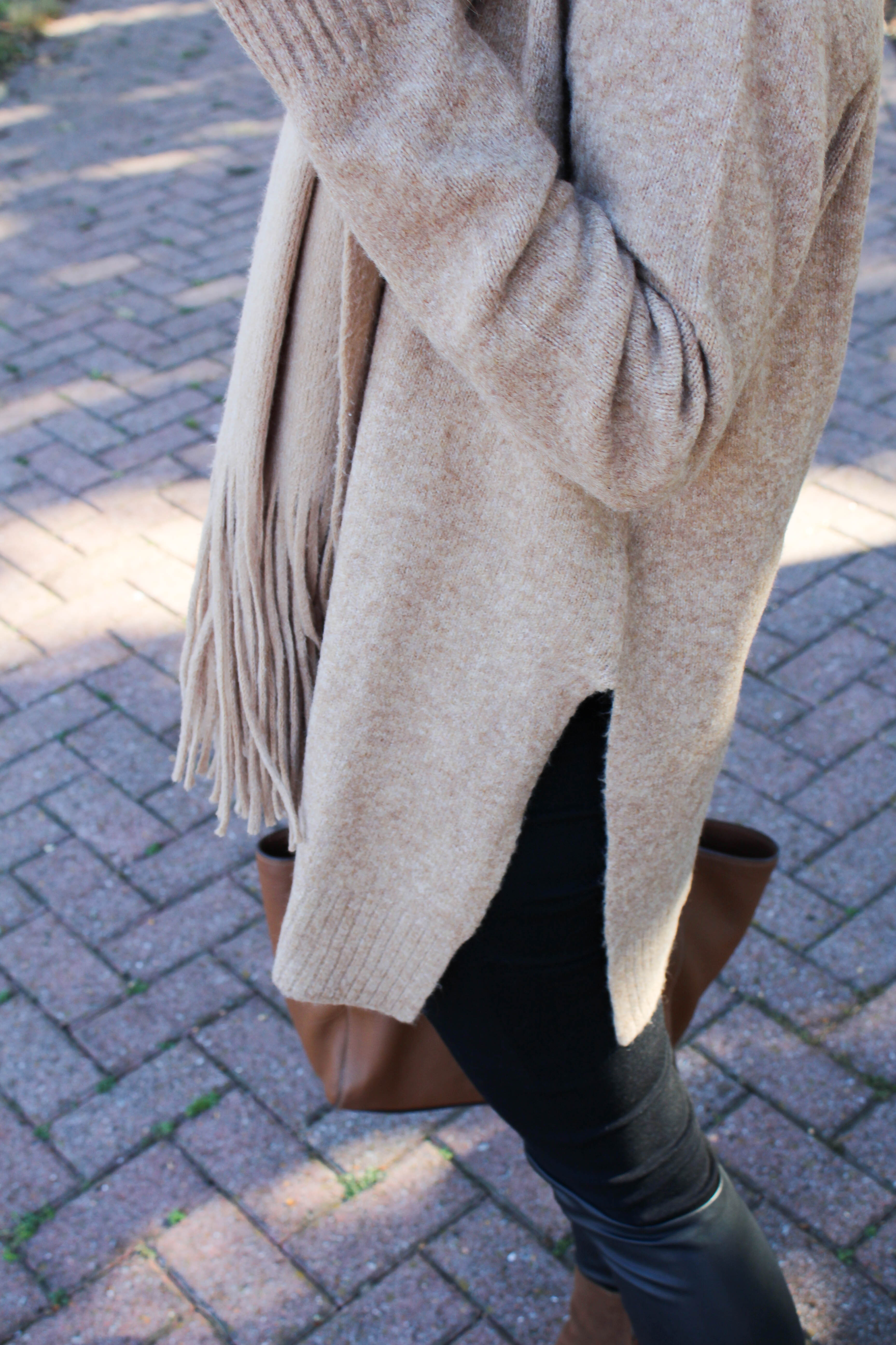 all camel outfit - h&m sweater - free people scarf