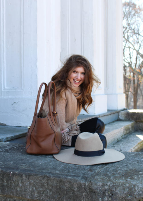 all camel outfit - h&m sweater - wide brim hat