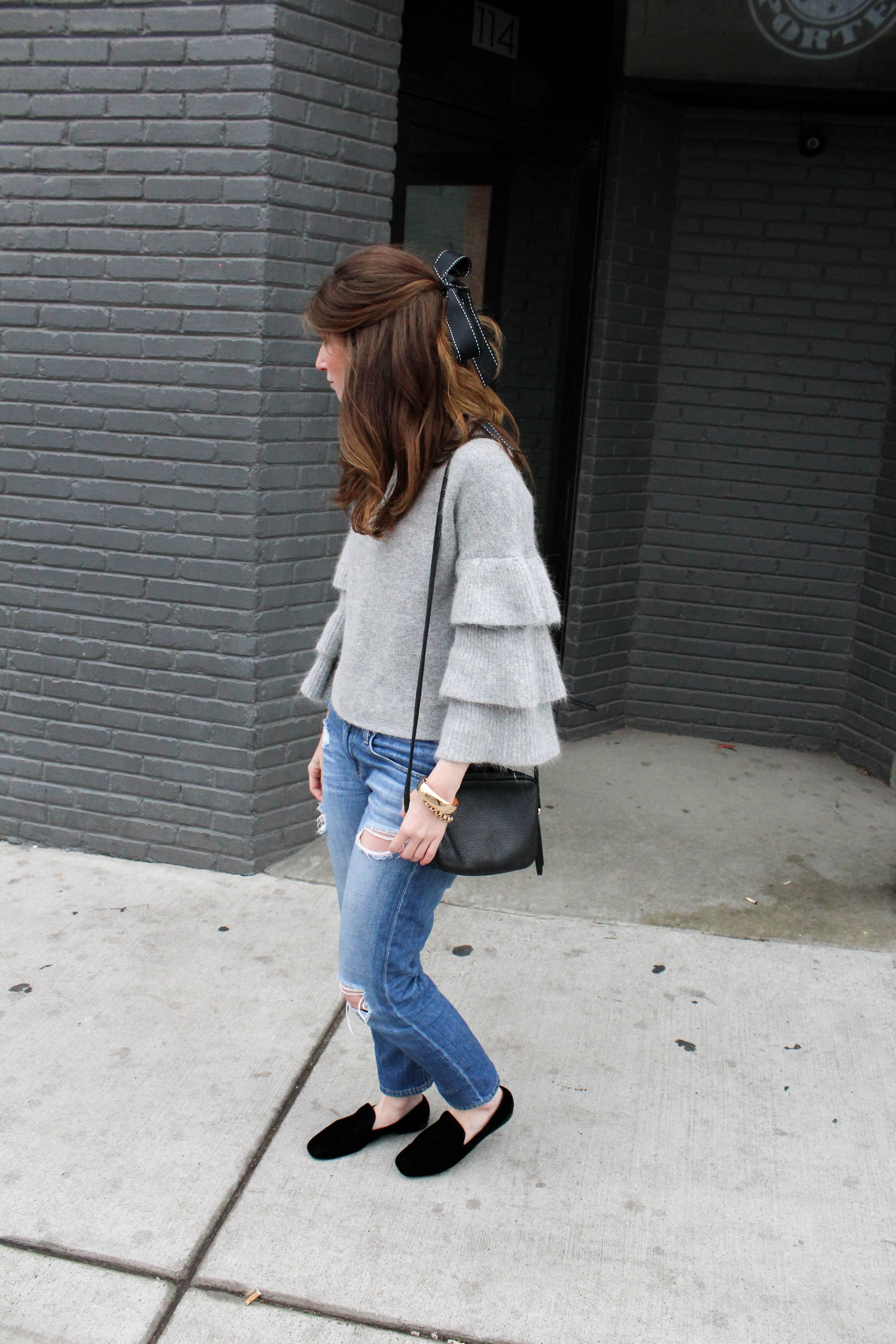ruffle sweater - bf jeans - vince loafers