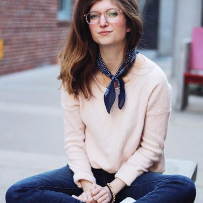 pink warby parker - bandana outfit - kick crop jeans