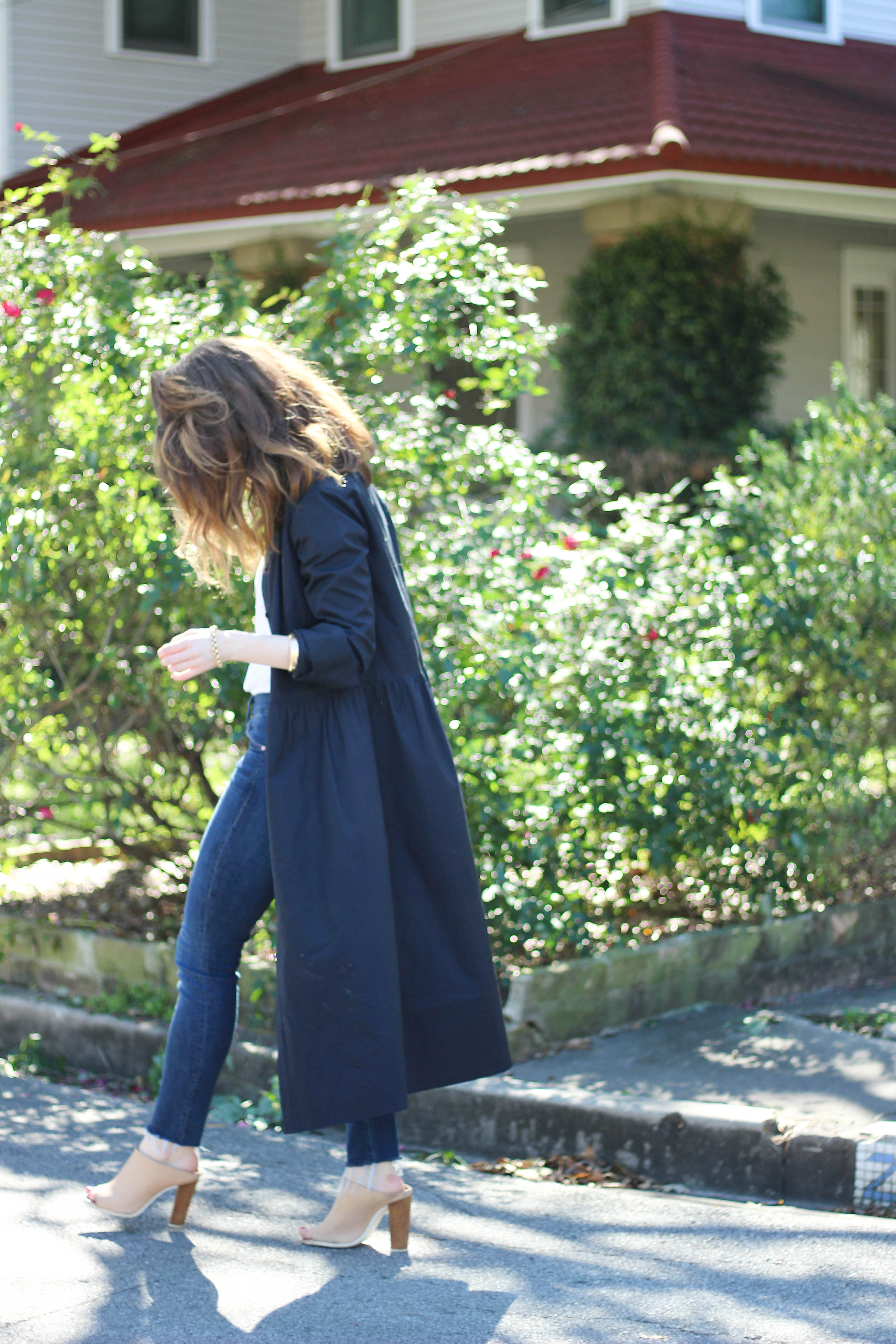vince shirt dress- how to wear a shirt dress - mother jeans
