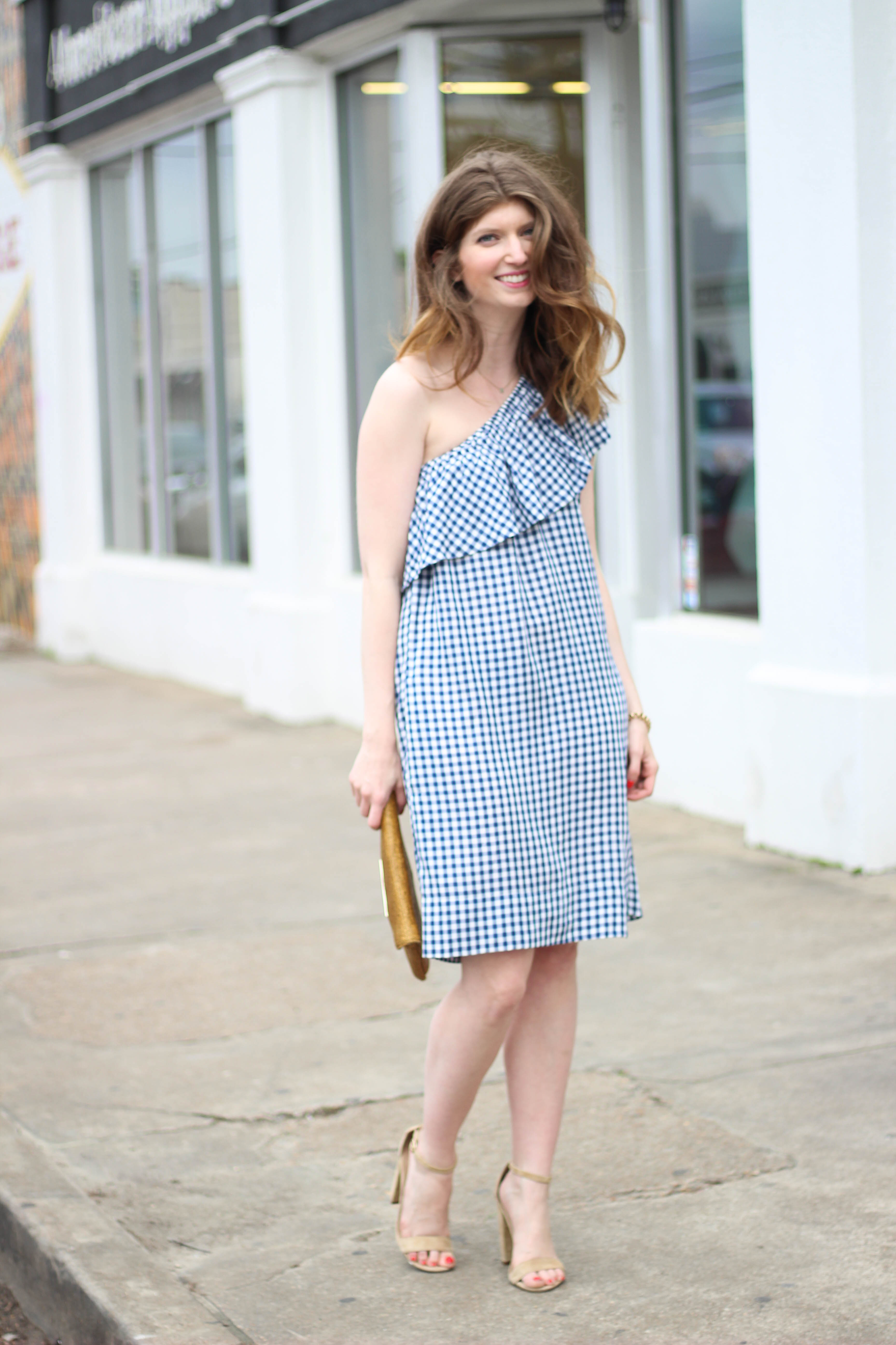 gingham dress- summer dress - one shoulder dress