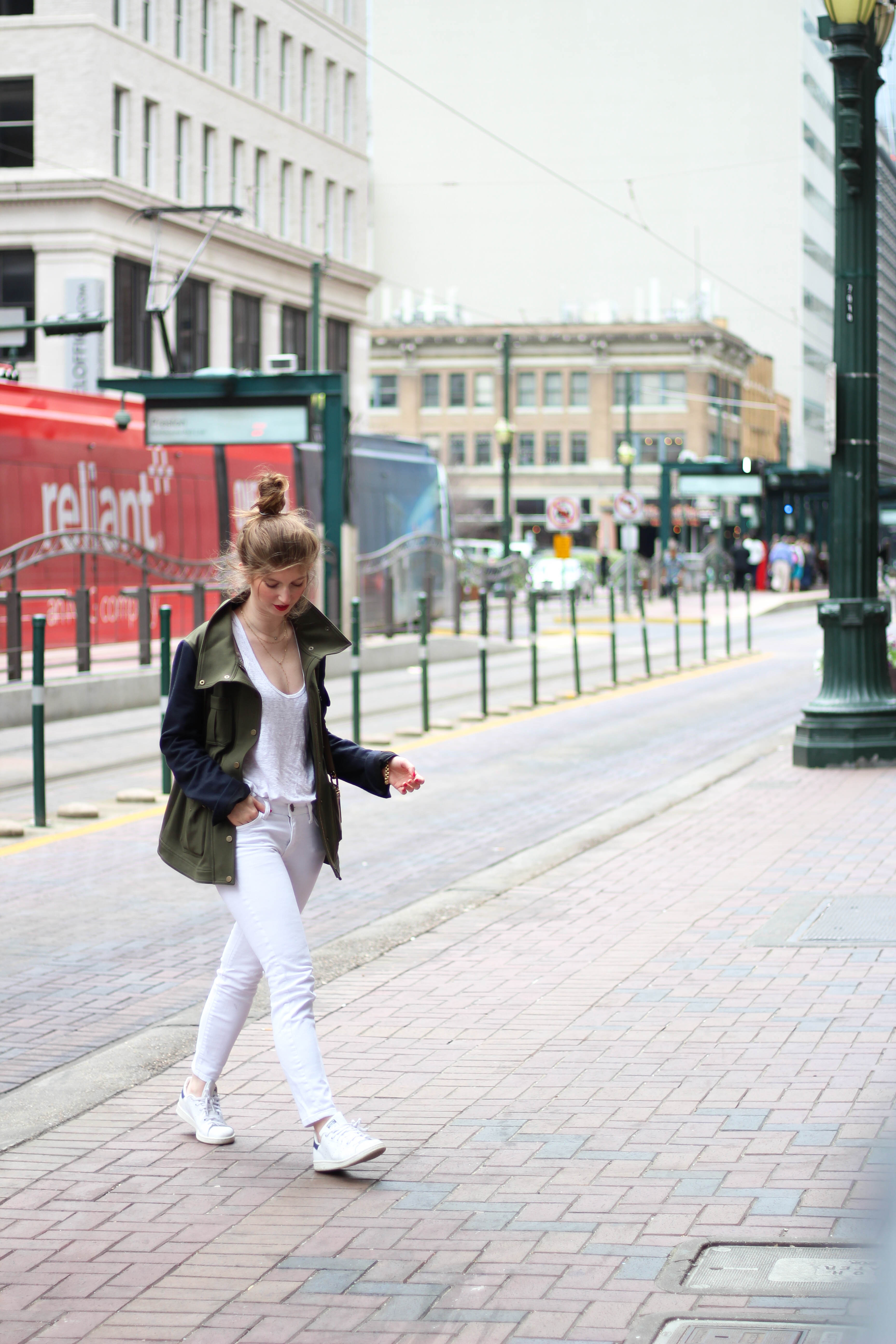outfit: all white + utility jacket
