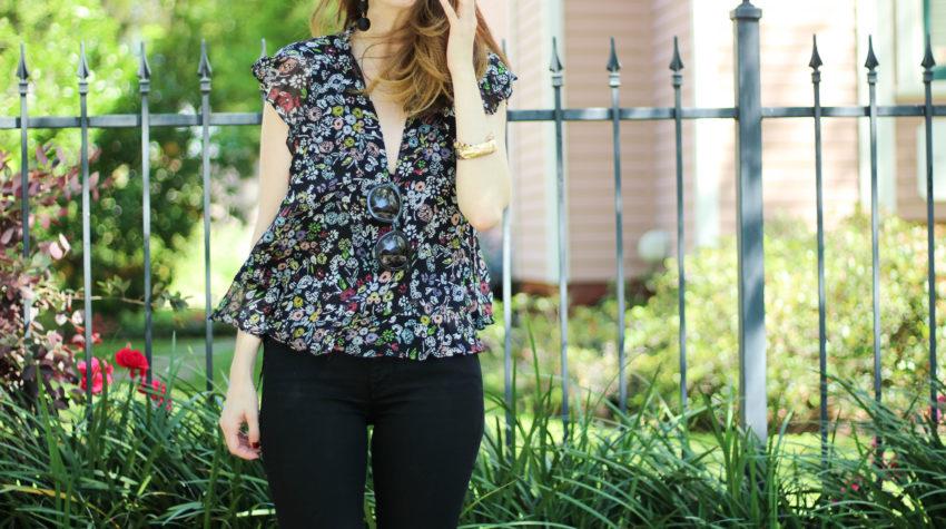 rebecca minkoff top- black florals - floral top