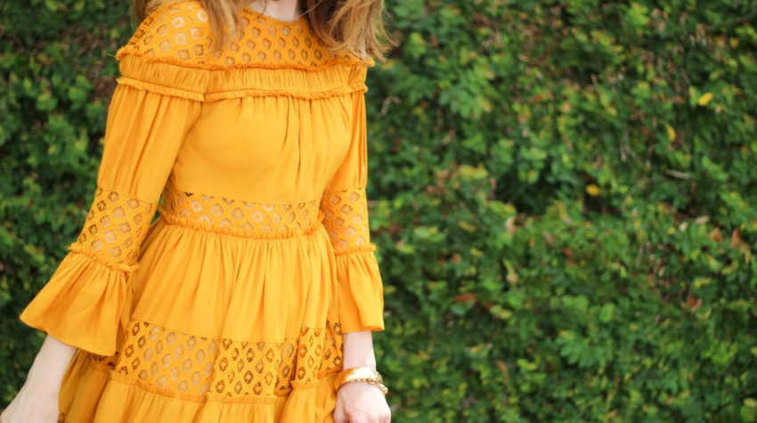 mustard yellow dress-