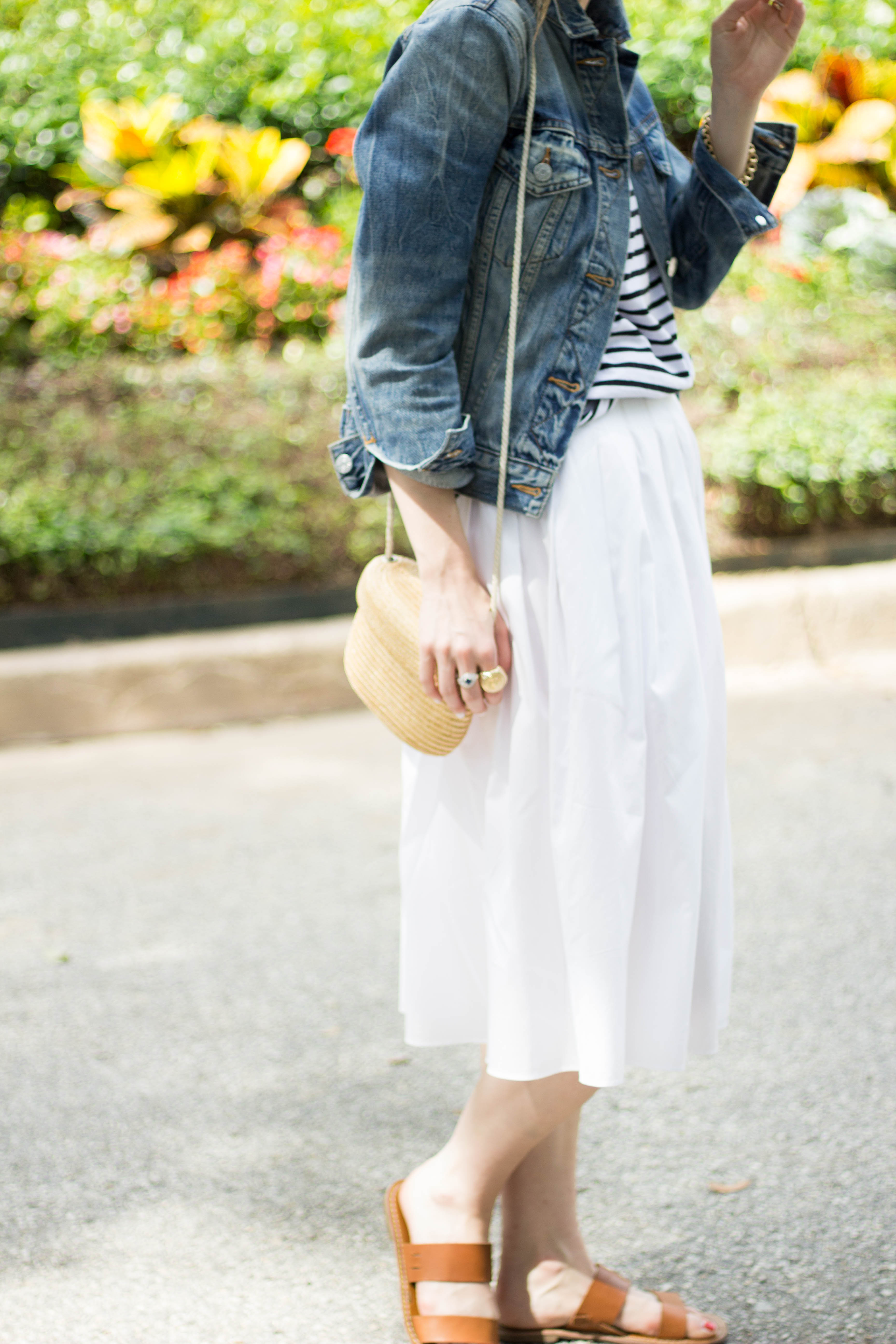 white midi skirt, how to wear a midi skirt, spring outfit, Vince skirt