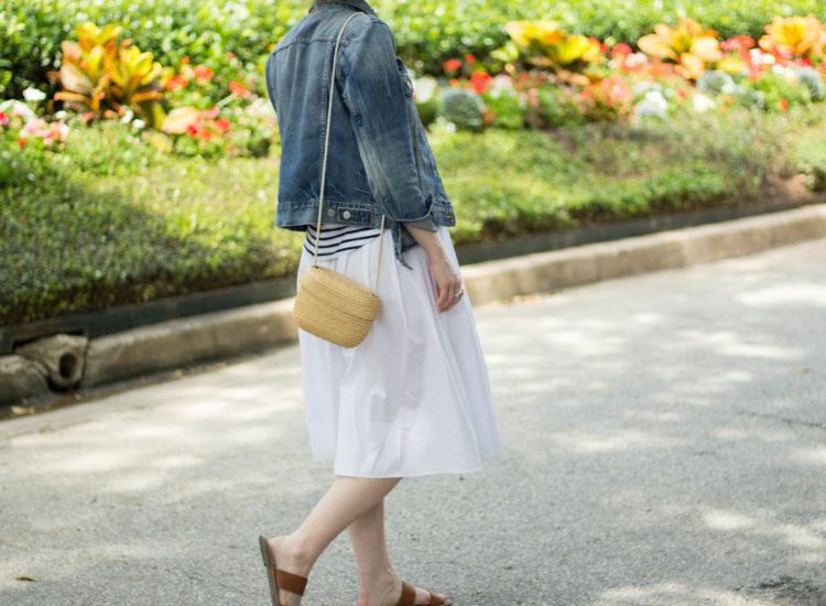 white midi skirt- denim jacket outfit