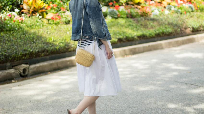 white midi skirt- denim jacket outfit