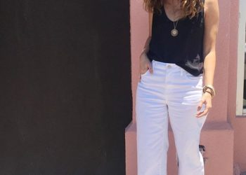 outfit: black, white + camel