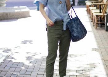 gap blue popover - blue and green outfit