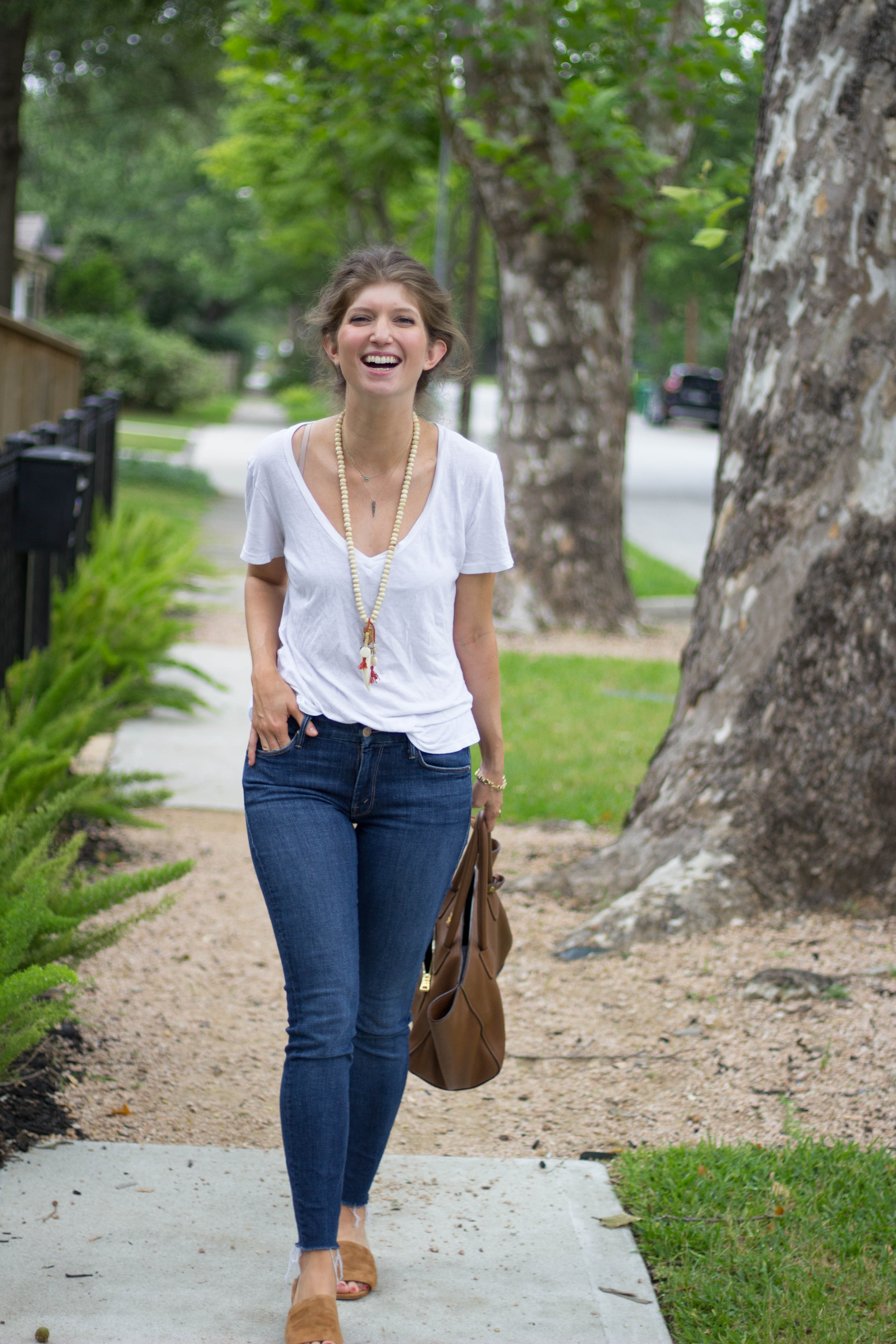 spring basics, classic spring outfit, mother jeans, Vince slides