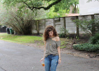 outfit: split neck tee shirt