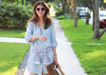 outfit: denim shirtdress